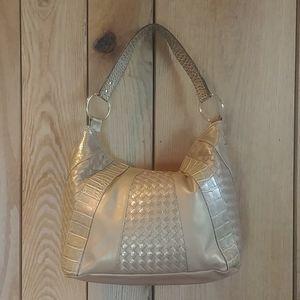 Metallic Gold Hobo Shoulder Croc Panel Hand Bag